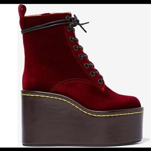Jeffery Campbell Velvet Maroon Commando Boots